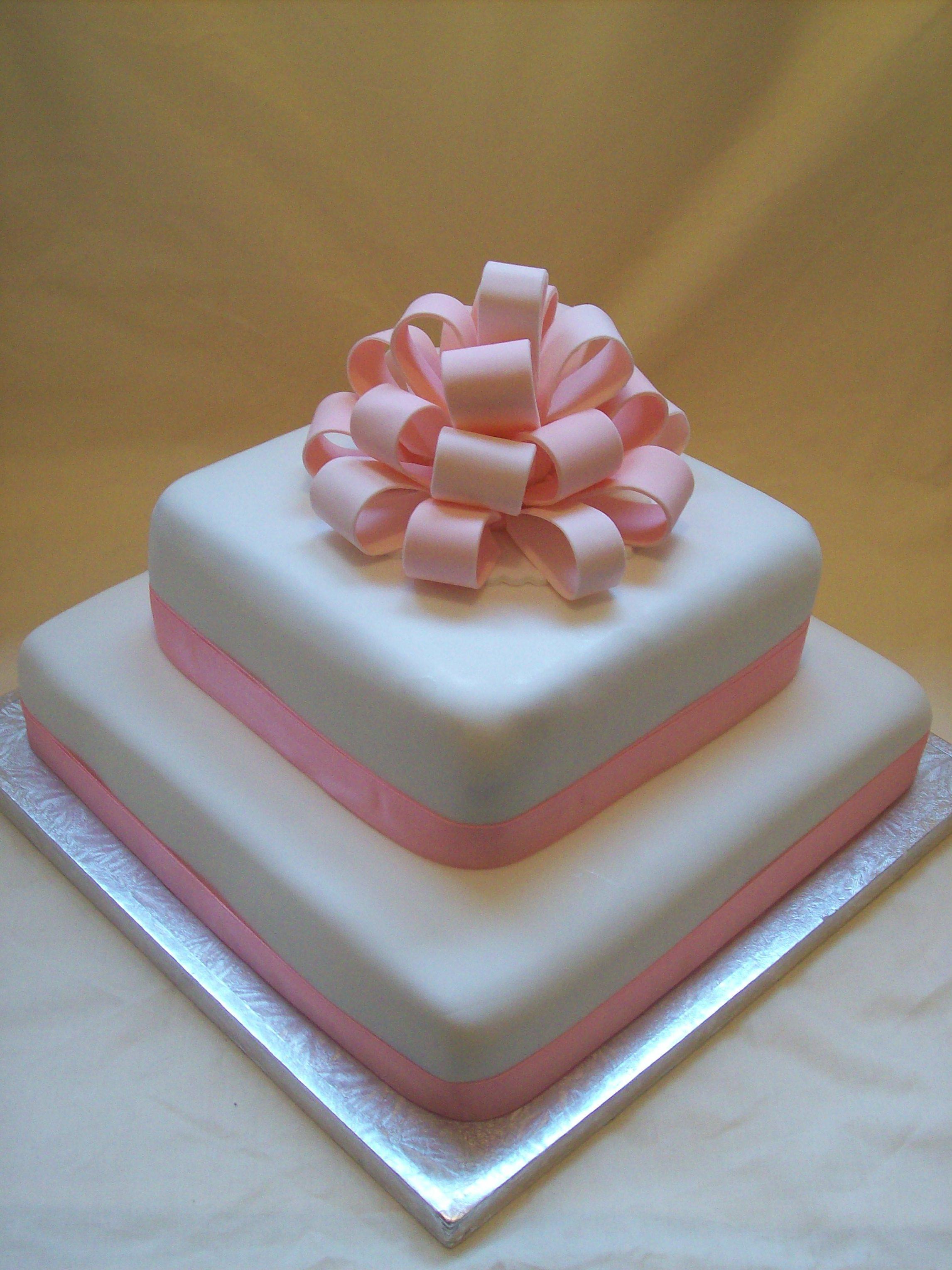 Pink Bow Wedding Cake $550 • Temptation Cakes
