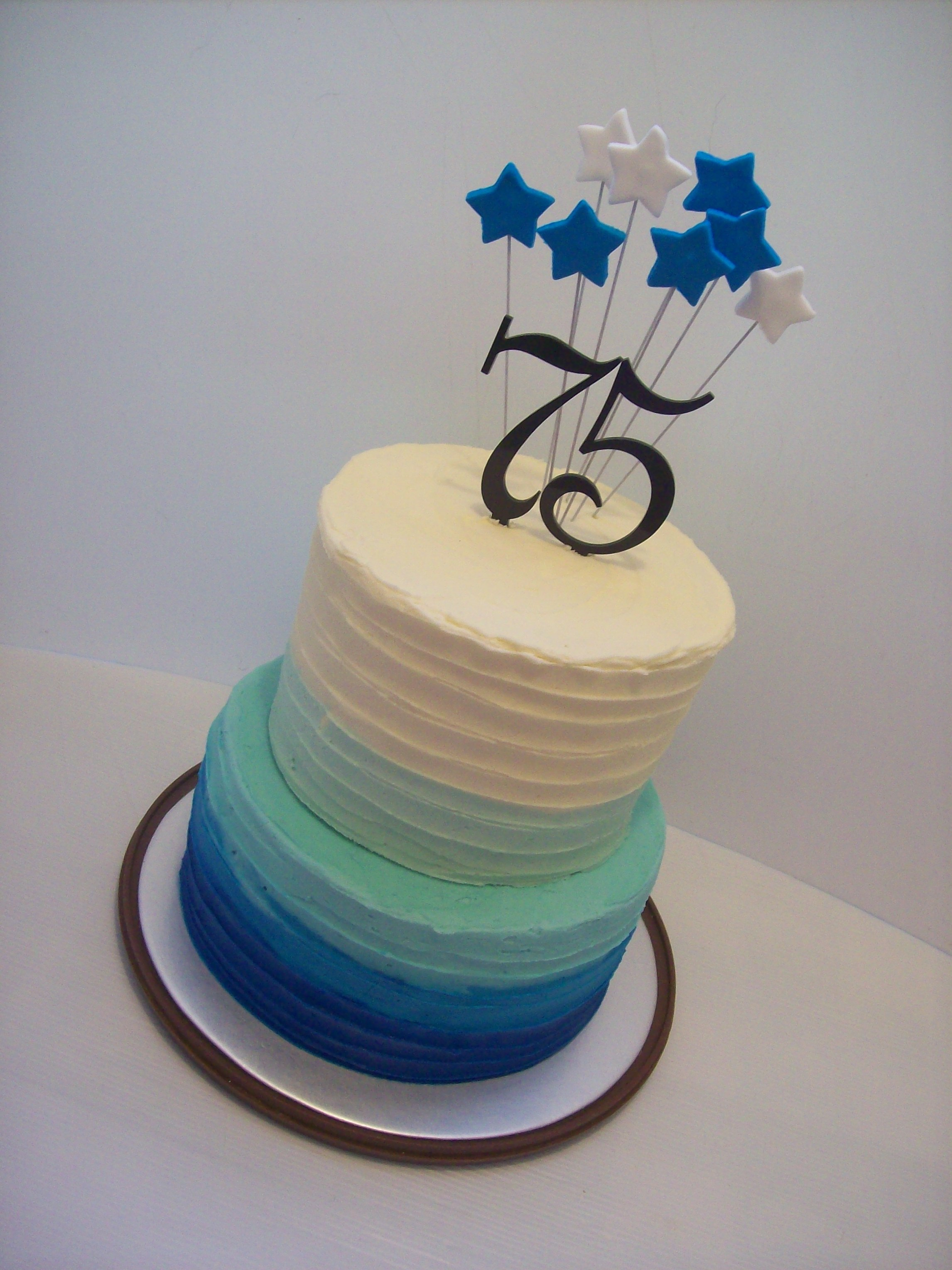 75th Birthday Cake 295 Blue