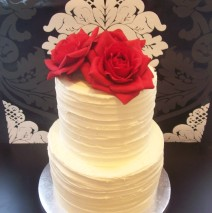 Buttercream Wedding Cake (Silk Roses) $425