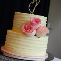 Pink Roses Wedding Cake $395
