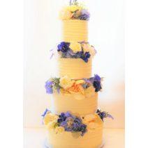 4 Tier Wedding Cake (silk flowers) $695