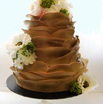 Bronze Petal Wedding Cake $850 (silk flowers)