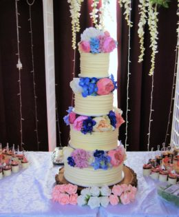 Four Tier with Silk Flowers $695