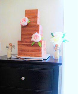 Square Semi Naked Wedding Cake $650