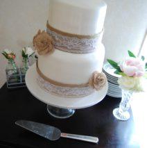 Hessian and Lace Wedding Cake $495