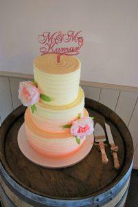 blush ombre wedding cake