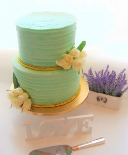 Aqua Rustic Wedding Cake $450