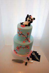 panda cherry blossom cake