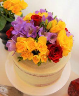 Semi Naked Fresh Flowers Cake $195