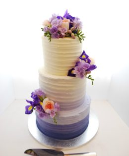 Purple Ombre Wedding Cake with flowers $650